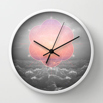 The Sun Is But A Morning Star (Mono Geometric Sunrise) Wall Clock by Soaring Anchor Designs