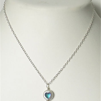 Coin pearl pendant on silver filled chain. Vintage frosted heart from Germany.