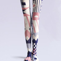 "Women's Fashion ""The geometric"" Printed Pattern Opaque High Waist Tights Pantyhose VK0083 by Fashnin.com"