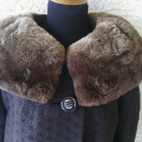 50s swing coat with faux fur collar black authentic vintage stunning great condition button front brown fur madmen fake fur STUNNING!