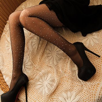 Women Fashion Rhinestone Silk Stockings Tights Pantyhose