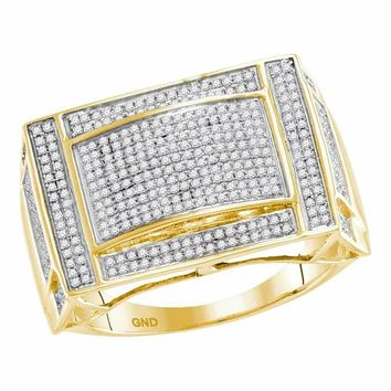 10kt Yellow Gold Men's Round Pave-set Diamond Convex Dome Rectangle Cluster Ring 3/4 Cttw - FREE Shipping (US/CAN)
