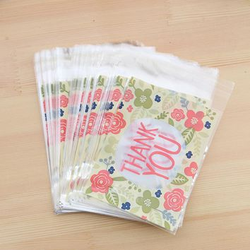 Opp Bags Thank you Flower Rose 100pcs 10x13cm Printing Sweet Christmas Candy Bags Accessory Cake Storage Xmas Gift Chocolate Bag