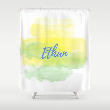 Shower Curtain, Yellow and Green, Bathroom Decor, Personalized Name, Custom Name, Blue Type, Watercolor Design, Gender Neutral, Boys Bath