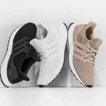 Adidas Ultra Boost Women MEN Running Breathable Sneakers B-CSXY Black/white/khaki