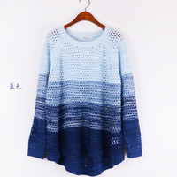 Gradient Cutout High-Low Sweater(N1118)