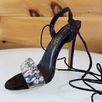 "Jules Metallic Blue Snake Sandal Jeweled Toe Strap - 4"" High Heel Shoes"