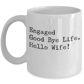 Engagement Gift For Future Wife Mug - Wedding Mug For Fiancée - Bridegroom Bride Coffee Couples Cups - Funny Engaged Gifts - Wife Husband Couple Cup - White Ceramic 11 oz Vday Jar Cup & Pen Holder