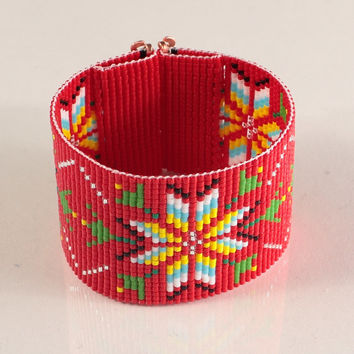 Red Native American Style Wide Cuff Bead Loom Bracelet - Artisanal Jewelry - Southwestern - American Indian Motif Jewelry -Western -Beaded