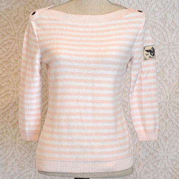 Ralph Lauren Boat Neck Thin Sweater/ 3 Qtr Sleeve. White & Pink Stripes PullOver Sweater Shirt. Nautical Mod Retro PinUp Preppy/ 80s or 90s