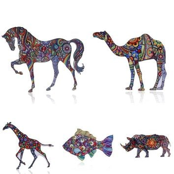 Classic Giraffe Horse Camel Fish Enamel animal Brooch Pins Antique Acrylic Metal Scarf Pins Christmas Gift Party Accessories