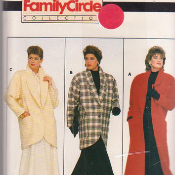 Vintage 1980s pattern for loose fitting, lined coat in thigh or calf length misses size P S M 6 8 10 12 14 Butterick 4039 UNCUT