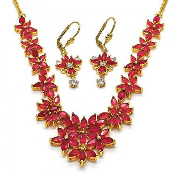 Gold Layered Necklace and Earring, Flower Design, with Cubic Zirconia, Golden Tone
