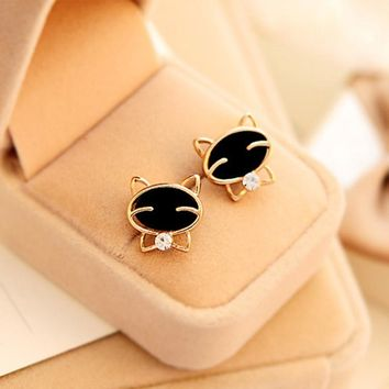 Black Smiley Cat Stud Earrings