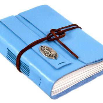 Light Blue Leather Journal - Notebook - Diary - Travel Journal  - Art Journal - Prayer Journal - Blank Paper - Bird Charm - Art Journal