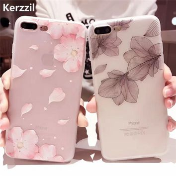 Kerzzil 3D Relief Cases For iPhone8 7 6s Cherry Petals Flowers Soft Silicone Lace Leaves Cover For iPhoneX 6 7 6S Plus Back Capa