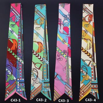New style women silk handfeel scarf with colourful print/ For many uses/ Women's beautiful bandanas headbands Hair ribbons