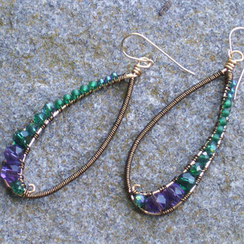 Teardrop earrings  chandelier   amethyst, green crystal  bronze wire wrapped