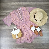 Honey Punch - As You Wish Contrasting Embroidered Lace Romper in Blush