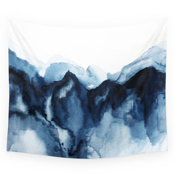 Society6 Abstract Indigo Mountains Wall Tapestry