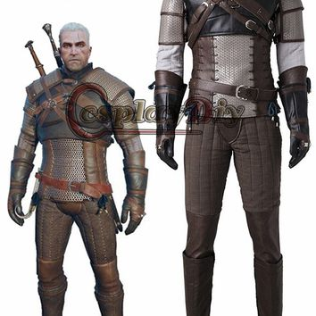 Cosplaydiy The Witcher3 Wild Hunt geralt of rivia Cosplay Costume Adult Men Halloween Cosplay Outfit Custom Made J215