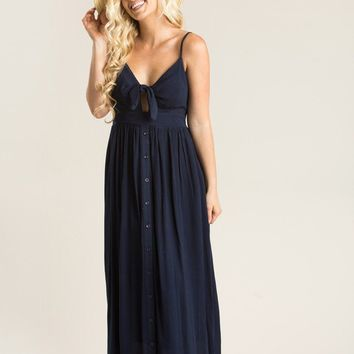 Delaney Navy Tie Front Midi Dress