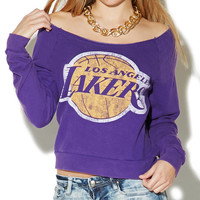 LA Lakers Off The Shoulder Sweatshirt | Wet Seal