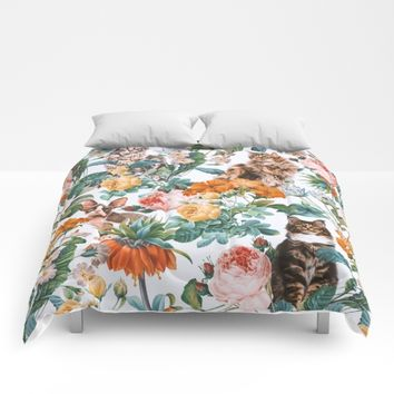 Cat and Floral Pattern III Comforters by Burcu Korkmazyurek