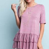 Striped Jersey Tee with Tiered Ruffle Detail