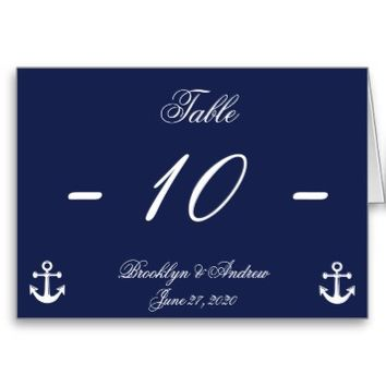 Navy Blue and White Wedding Table Numbers Card from Zazzle.com