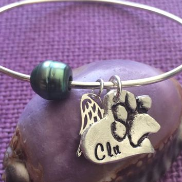 Pet Memorial Jewelry, Dog Memorial, Cat Memorial Bracelet, Pet Loss Gift, In Memory of Dog. Personalized Tahitian pearl Bracelet