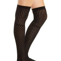 Mixed Pointelle Over-the-Knee Socks by Charlotte Russe