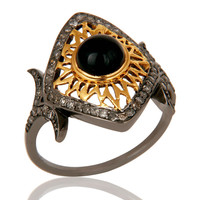 Black Onyx and Pave Diamond Ethenic Designer Black Oxidized Sterling Silver Ring
