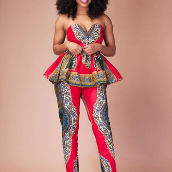 Multicolor Strappy Crop Top with African Print Pants