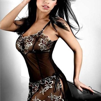 Hot Sexy Full Slips Lace Floral Embroidered Lingerie Sexy Sleepwear For Women Plus Size Pajamas
