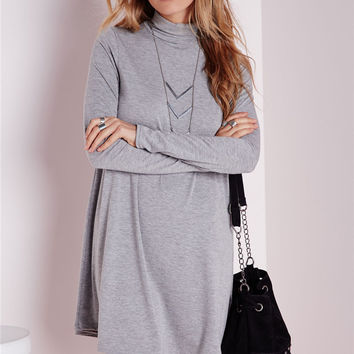 Gray Turtleneck Long-Sleeve Dress