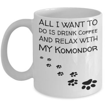 Coffee Play Komondor Mug - Funny Sayings Quotes Cup for Dog Lovers - Perfect Holiday 2016 Gift