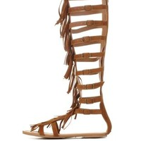 Cognac Knee-High Fringe Gladiator Sandals by Charlotte Russe