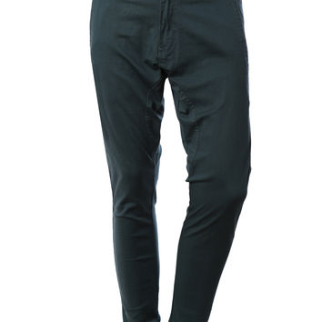 LE3NO Mens Premium Slim Fit Harem Twill Jogger Pants (CLEARANCE)