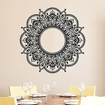 Mandala Wall Decal Vinyl Sticker Decals Lotus Flower Yoga Namaste Indian Ornament Moroccan Pattern Om Home Decor Bedroom Art Design Interior NS535