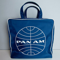 Vintage PAN AM Airline Travel Flight Stewardess Tote Overnight Carry On Duffle Bag Luggage