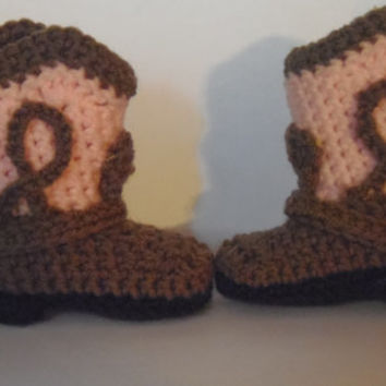 Crocheted baby cowboy boots. Should fit 03 mo. by babybunsBoutique