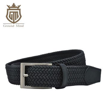 New elastic braided men's belts high quality woven belt brushed metal pin buckle stretch belt for jeans Brown Beige Blue Black