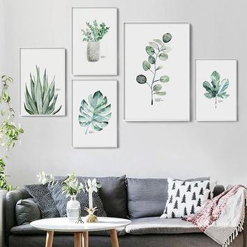 Watercolor Vase Green Plant Canvas Painting Art print Poster Picture Wall Modern Minimalist Bedroom Living Room Decoration