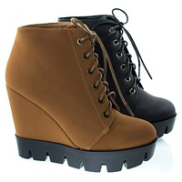 Tense10 Women Faux Fur Lining Combat Ankle Boots, Hidden Wedge Lug Threaded Sole