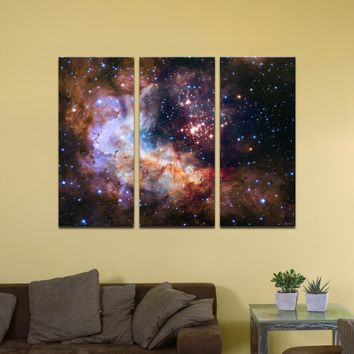 """Celestial Fireworks, Hubble 25th Anniversary HD Space Photo - 48"""" x 36"""", 3-Piece Split Canvas Wall Mural"""