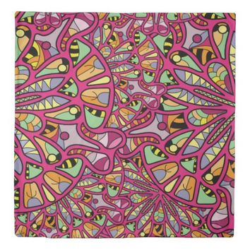 Kaleidoscopic Multicolored Abstract Pattern Duvet Cover
