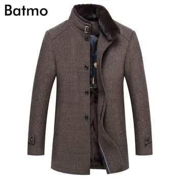 Batmo 2017 new arrival winter high quality thick wool jacket men,casual trench coat men,plus-size W7005