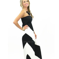 Lighthouse View Black Strapless Maxi Dress