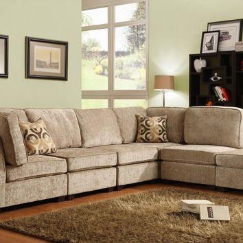 6 pc Burke Collection brown beige chenille fabric upholstered modular sectional sofa set with flaired arms and cushion backs